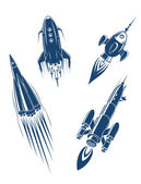 Space ships and spacecrafts set — Stock Vector