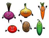 Beet, onion, carrot, tomato, potato and cucumber — Stock Vector