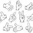Cartoon hand gestures set — Stock Vector