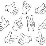 Cartoon hand gestures set — Stock Vector