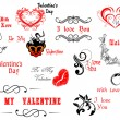 Valentine's Day calligraphic and decorative elements — Stok Vektör