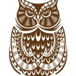 Brown owl with decorative ornament — Stock Vector