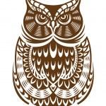 Buho marrón con adorno decorativo — Vector de stock