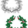 Christmas holly wreath — Stock Vector