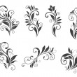 Seven floral elements — Stock Vector