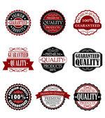 Premium quality and guarantee labels set — Stock Vector