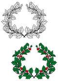Christmas holly wreath — Stock Vector