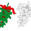 Christmas holly branch — Stockvectorbeeld