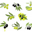Green and black olives set — Stock Vector