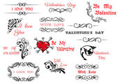 Valentine's Day scripts and decorations — Stock Vector