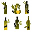 Bottles with olive oil — Stock Vector
