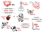 Valentine's day symbols and headers — Stock Vector