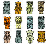 Tribal ethnic masks and totems — Stock Vector