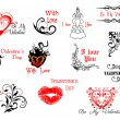 Valentine's Day headers and scripts — Imagen vectorial