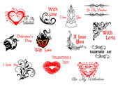 Valentine's Day headers and scripts — Stock Vector