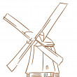 Old windmill — Stock Vector