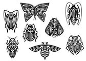 Insect tattoos in tribal style — Stock Vector
