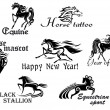 Stock Vector: Black horses mascots