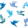 Paper pigeons and doves — Stock Vector