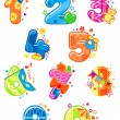 Cartoon digits and numbers with toys — Stock Vector