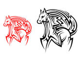 Tribal horse tattoo — Stock Vector