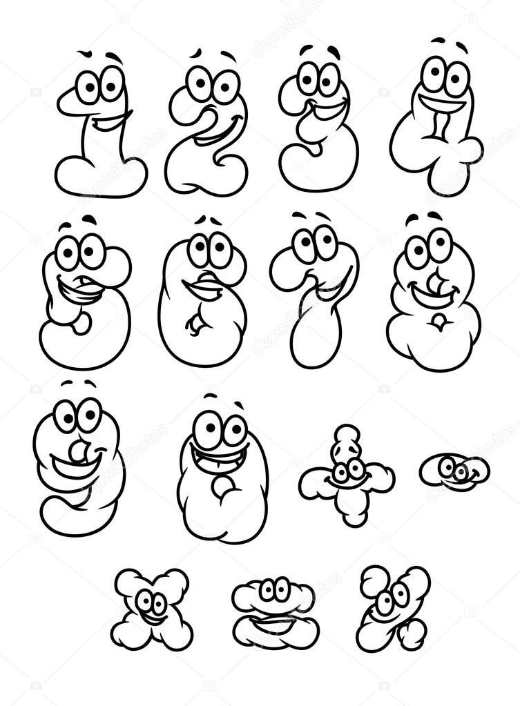 Set di numeri e cifre dei cartoni animati — vettoriali