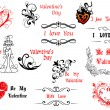 Valentine's Day design elements with calligraphic scripts — ベクター素材ストック