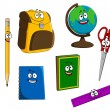 Cartoon school objects — 图库矢量图片