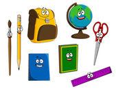 Cartoon school objects — Stock Vector