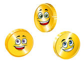 Golden smiling coins — Stock Vector