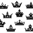 Black heraldic crowns set — Stock Vector