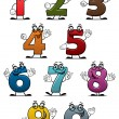 Cartoon funny numbers and digits — Stok Vektör