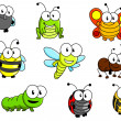 Cartoon insects set — Stock Vector
