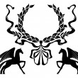 Winged horses with laurel wreath — Stock Vector