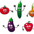 Cucumber, pepper, onion, eggplant and tomato — Stock Vector #36533893