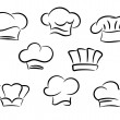 Chef and cook hats set — Stockvectorbeeld