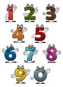 Cartoon funny numbers and digits — Stockvector