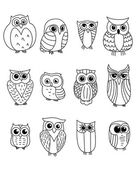 Cartoon owls and owlets — Stock Vector