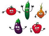 Cucumber, pepper, onion, eggplant and tomato — Stock Vector