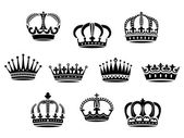 Medieval heraldic crowns set — Stock Vector