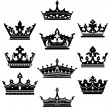 Black crowns set for heraldry design — Stock Vector