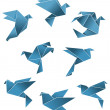 Blue paper pigeons and doves in origami style — Stock Vector