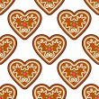 Gingerbread hearts seamless pattern background — Stock Vector