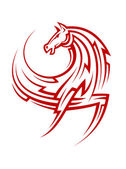 Powerful tribal red horse — Stock Vector