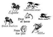 Black stallions and mustangs — Vector de stock