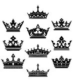 Black crowns set for heraldry design — Stock Vector