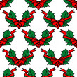 Stock Vector: Christmas holly seamless pattern background