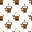 Seamless pattern background with coffee cups — Stock Vector