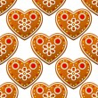 Gingerbread cookies seamless pattern with heart shapes — Stock Vector