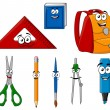 School supplies and objects in cartoon style — Векторная иллюстрация